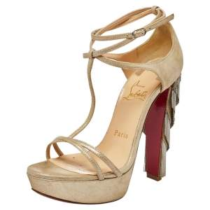 Christian Louboutin Beige Suede Benedetta  Ankle Strap Sandals Size 36.5