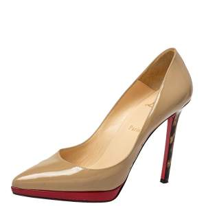 Christian Louboutin Beige Patent Leather Decollete Platform Pointed Toe Pumps Size 39.5