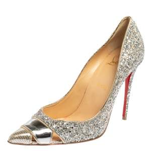 Christian Louboutin Silver Leather and Coarse Glitter Pointed Toe Pumps Size 39