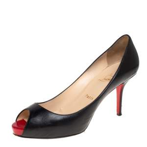 Christian Louboutin Black Leather Very Prive Peep Toe Pumps Size 39