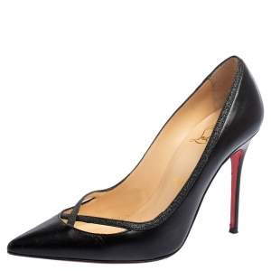 Christian Louboutin Black Leather Princess Pumps Size 37