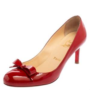 Christian Louboutin Red Patent Leather Vinodo Bow Pumps Size 38