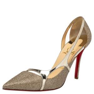 Christian Louboutin Metallic Gold Glitter And Lame Fabric Edith D'orsay Pumps Size 39