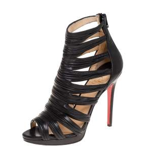 Christian Louboutin Black Leather Strappy Open Toe Ankle Bootie Size 38.5