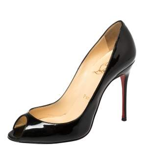 Christian Louboutin Black Patent Leather Youpi Peep Toe Pumps Size 37