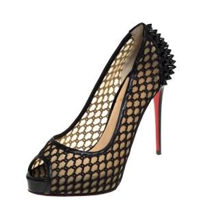 Christian Louboutin Black Patent Leather and Mesh Guni Spiked Peep Toe Platform Pumps Size 38