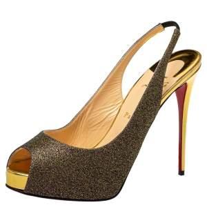 Christian Louboutin Multicolor Fabric Private Number Peep Toe Platform Slingback Sandals Size 41