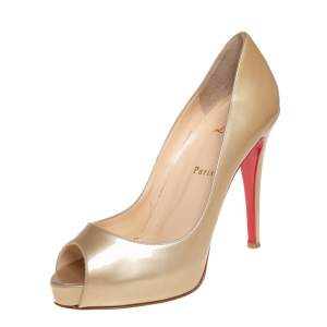 Christian Louboutin Metallic Beige Patent Leather New Prive Patform Peep Toe Pumps Size 38
