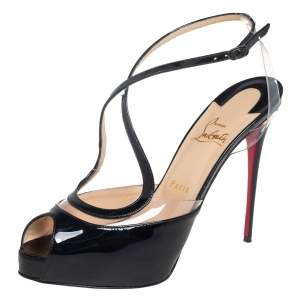 Christian Louboutin Black Patent Leather And PVC Cupidivipi  Ankle Strap Sandals Size 40
