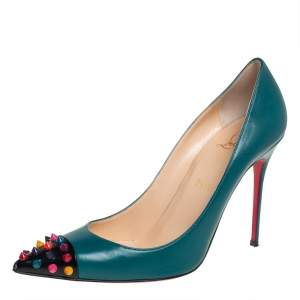 Christian Louboutin Green Leather Geo Spike Studded Pumps Size 39.5