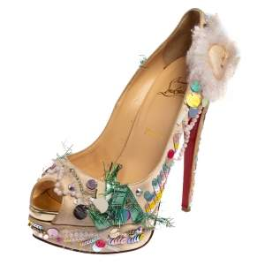 Christian Louboutin Beige Satin 'Make Up Trash' Lady Peep Toe Platform Pumps Size 39.5