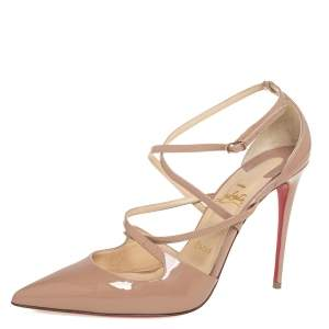 Christian Louboutin Beige Patent Leather Crossfliketa Pumps Size 39