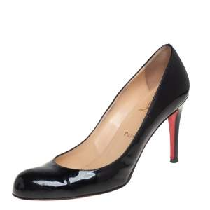 Christian Louboutin Black Patent Leather Simple Pumps Size 40