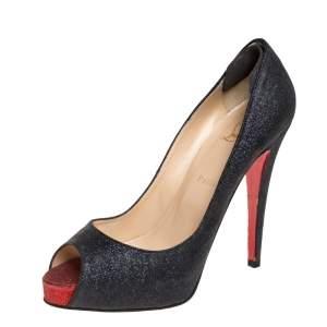 Christian Louboutin Grey Glitter Lady Peep Peep Toe Platform Pumps Size 40