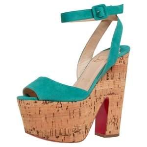 Christian Louboutin Blue Suede Super Dombasle Platform Cork Wedge Ankle Strap Sandals Size 36