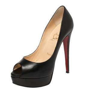 Christian Louboutin Black Leather Lady Peep Toe Platform Pumps Size 36.5