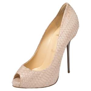 Christian Louboutin Blush Pink Python Very Prive Peep Toe Pumps Size 34.5