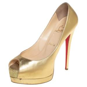 Christian Louboutin Gold Leather Palais Royal Peep Toe Platform Pumps Size 38