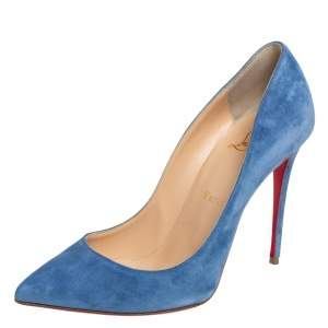 حذاء كعب عالي كريستيان لوبوتان بيغال فوليس سويدي أزرق مقاس 37.5