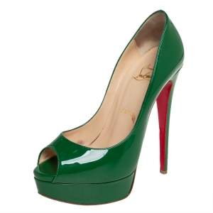 Christian Louboutin Green Patent Leather Very Prive Pumps Size 37.5