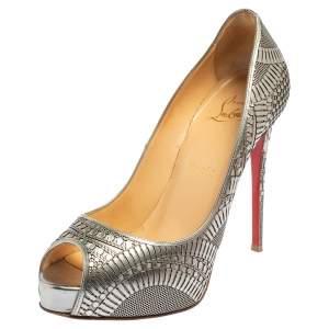 Christian Louboutin Silver Leather Suellena Laser Cut Peep Toe Pumps Size 37