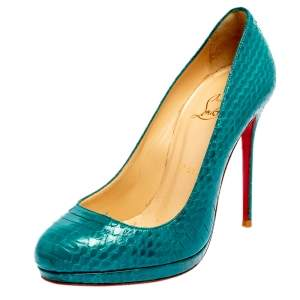 Christian Louboutin Torquoise Blue Python New Simple Pumps Size 37