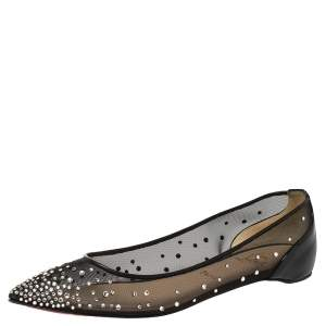 Christian Louboutin Black Mesh and Patent Leather Body Strass Ballet Flats Size 39
