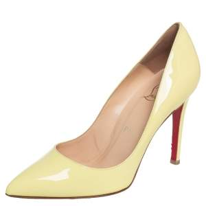 Christian Louboutin Yellow Patent Leather Pigalle Pointed Toe Pumps Size 36.5