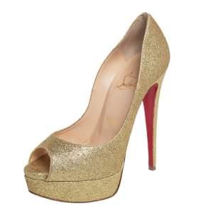 Christian Louboutin Gold Glitter Lady Peep Toe Platform Pumps Size 36.5