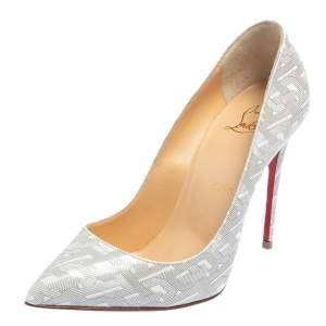 Christian Louboutin White/Silver Patent Leather Pigalle Follies Pumps Size 36