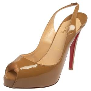 Christian Louboutin Beige Patent Leather New Prive Peep Toe Slingback Sandals Size 37