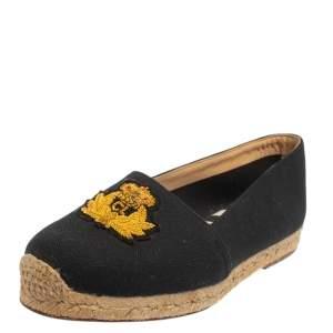 Christian Louboutin Black Canvas Gala  Loafers Size 38