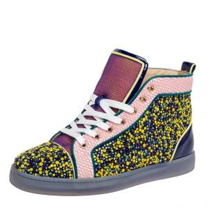 Christian Louboutin Multicolor Mesh And Patent Leather Crystal Embellished High Top Sneakers Size 39