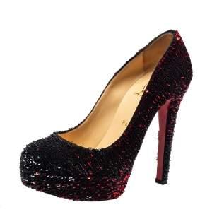 Christian Louboutin Black/Red Sequins Bianca Platform Pumps Size 37.5