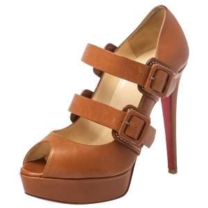 Christian Louboutin Brown Leather Bikiki Mary Jane Peep Toe Platform Pumps Size 37.5