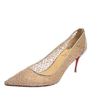 حذاء كعب عالي كريستيان لوبوتان سارامور مقدمة مدببة جلد و دانتيل ذهبي ميتاليك مقاس 39.5