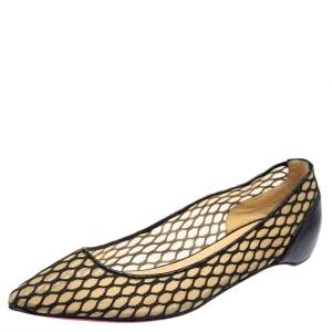 Christian Louboutin Black Mesh And Leather Pigaresille Pointed Toe Ballet Flats Size 39
