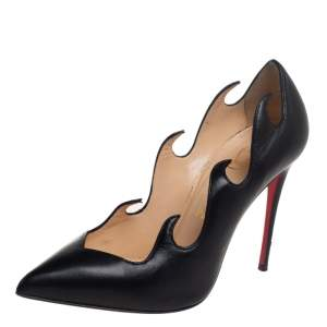 حذاء كعب عالي كريستيان لوبوتان أولافاج فلام جلد أسود بمقدمة مدببة مقاس 36.5