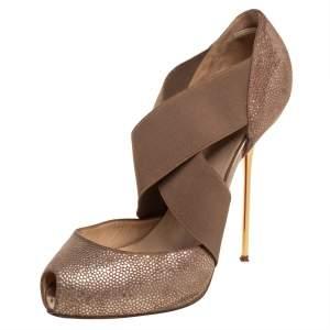 حذاء كعب عالي كريستيان لوبوتان مقدمة مفتوحة بيغ دورست جلد منقوش بيج مقاس 39