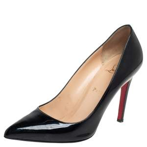 حذاء كعب عالي كريستيان لوبوتان بيغال جلد أسود لامع بمقدمة مدببة مقاس 38.5
