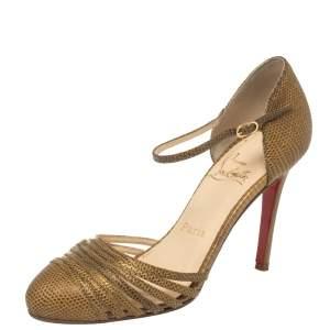 حذاء كعب عالي كريستيان لوبوتان إن بسنت جلد ذهبي بنقشة السحلية مقاس 37