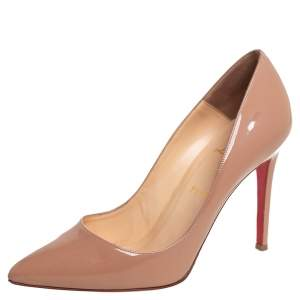 حذاء كعب عالي كريستيان لوبوتان مقدمة مدببة بيغالي جلد لامع بيج مقاس 40