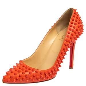 حذاء كعب عالي كريستيان لوبوتان بيغال سبايكز جلد برتقالي مقاس 38.5