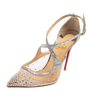 Christian Louboutin Silver Lurex Fabric and Mesh Twistissima Strass Sandals Size 38.5