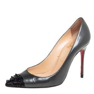 حذاء كعب عالي كريستيان لوبوتان مقدمة مدببة سبايكد جيو جلد رمادي داكن مقاس 36.5