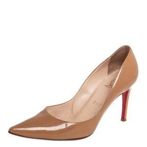 Christian Louboutin Beige Patent Leather Decollete Pointed Toe Pumps Size 37.5