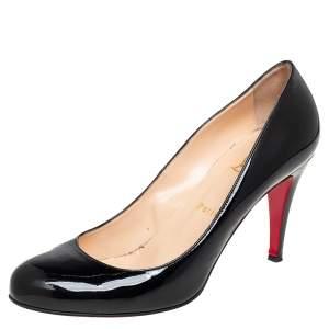حذاء كعب عالي كريستيان لوبوتان رون رون جلد لامع أسود مقاس 40.5