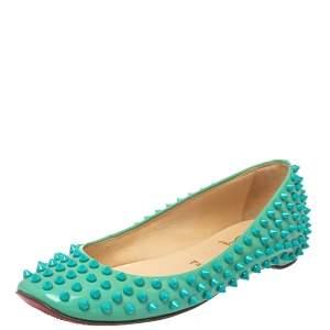 حذاء فلات باليه كريستيان لوبوتان سبياكز جلد لامع أخضر مقاس 36.5