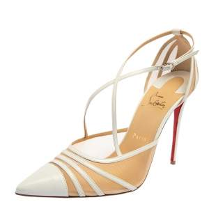 Christian Louboutin White Net And Leather Theodorella Pumps Size 41