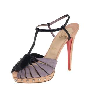 Christian Louboutin Black/Purple Suede And Patent Leather Zigounette Spiked 140 Sandals Size 39